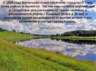 В 1928 году Васильево стало посёлком городского типа, коим сейчас и является.