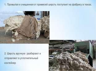 1. Промытая и очищенная от примесей шерсть поступает на фабрику в тюках. 2. Ш