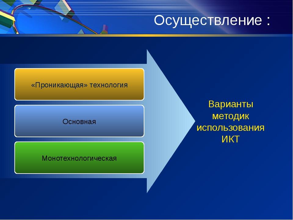 Осуществление : «Проникающая» технология Основная Монотехнологическая Вариант...