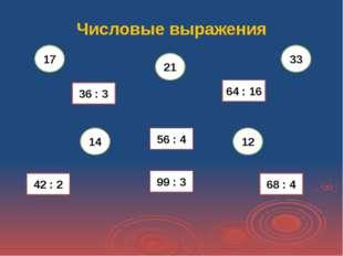 Числовые выражения 36 : 3 68 : 4 99 : 3 42 : 2 56 : 4 64 : 16 14 12 33 21 17