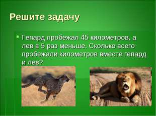 Решите задачу Гепард пробежал 45 километров, а лев в 5 раз меньше. Сколько вс