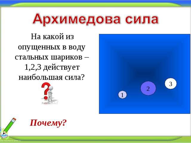 * На какой из опущенных в воду стальных шариков – 1,2,3 действует наибольшая...