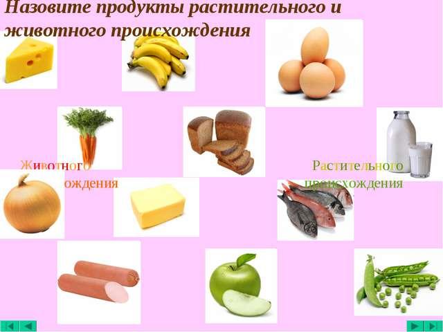 Назовите продукты растительного и животного происхождения Животного происхожд...