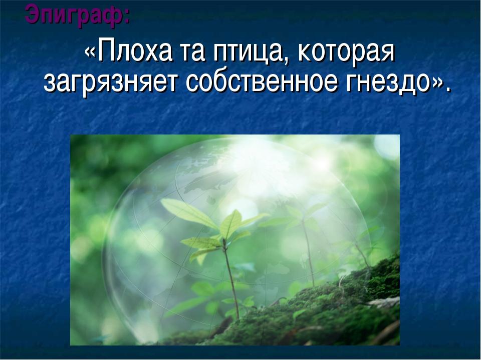 Эпиграф: «Плоха та птица, которая загрязняет собственное гнездо».