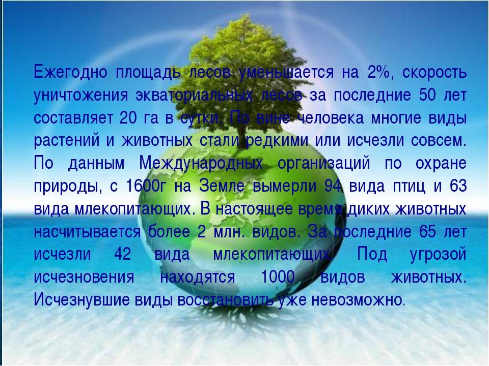 Ежегодно площадь лесов уменьшается на 2%, скорость уничтожения экваториальных...
