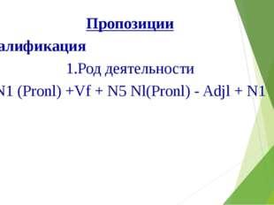 Пропозиции Квалификация 1.Род деятельности N1 (Pronl) +Vf + N5 Nl(Pronl) - Ad