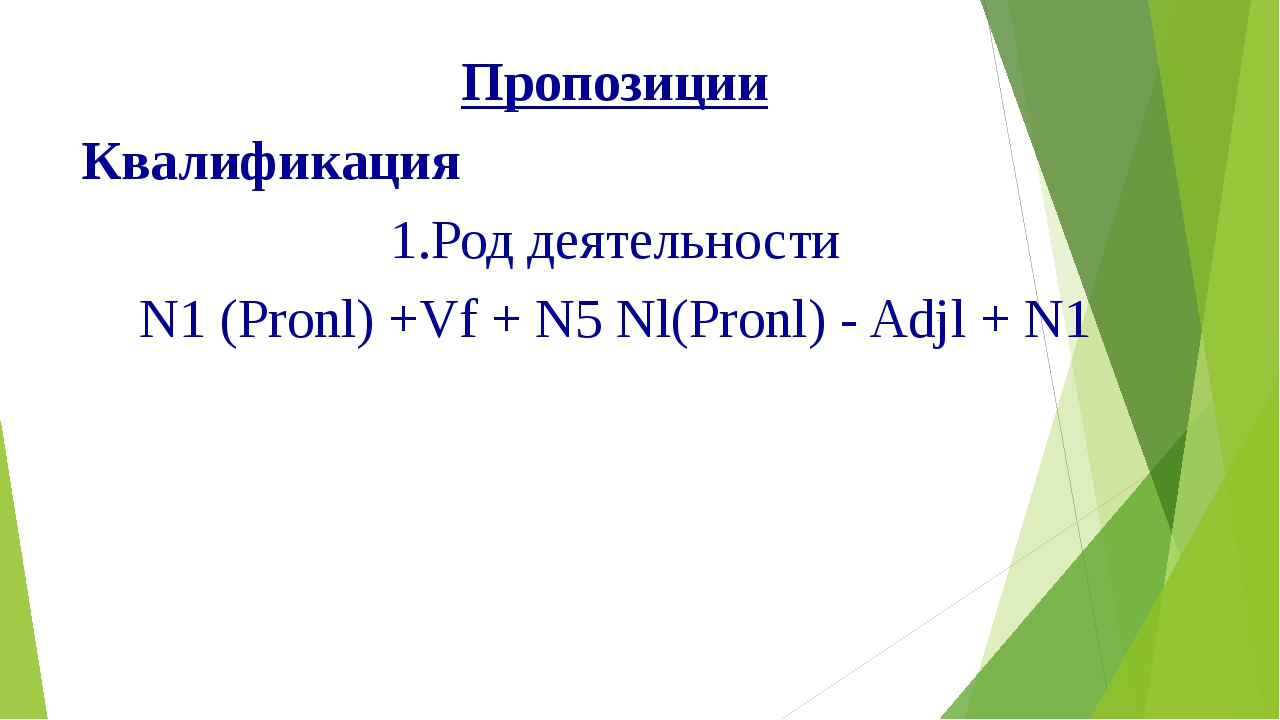 Пропозиции Квалификация 1.Род деятельности N1 (Pronl) +Vf + N5 Nl(Pronl) - Ad...
