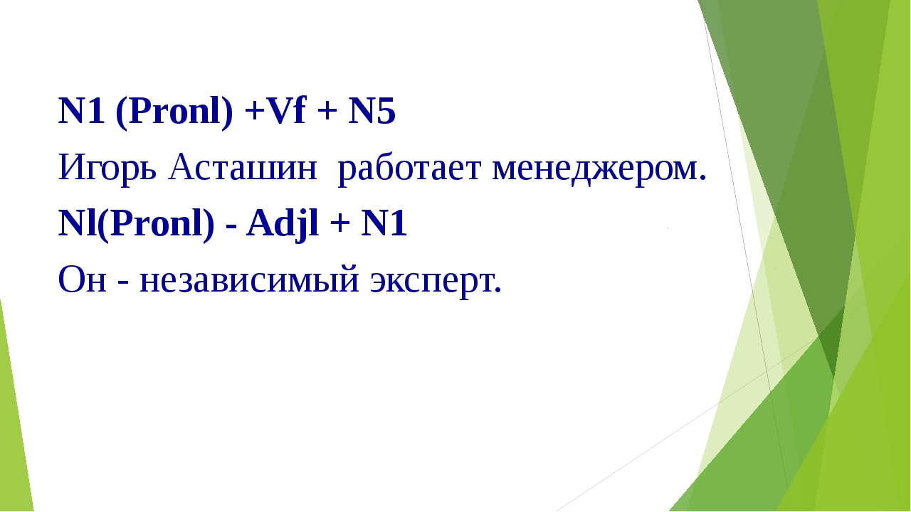 N1 (Pronl) +Vf + N5 Игорь Асташин работает менеджером. Nl(Pronl) - Adjl + N1...