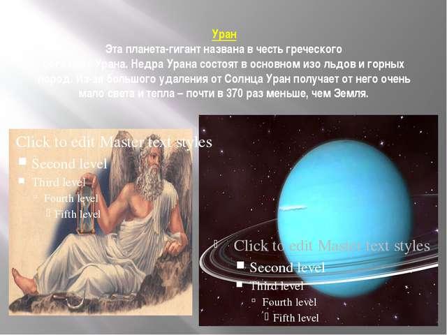 Уран Эта планета-гигант названа в честь греческого бога неба Урана. Недра Ура...