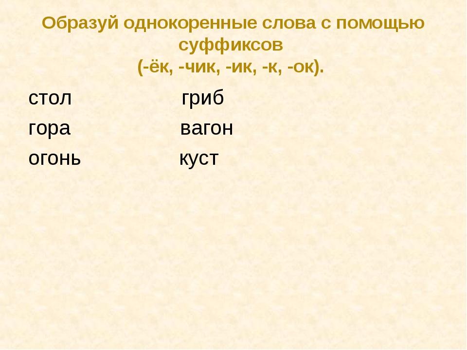 Образуй однокоренные слова с помощью суффиксов (-ёк, -чик, -ик, -к, -ок). сто...