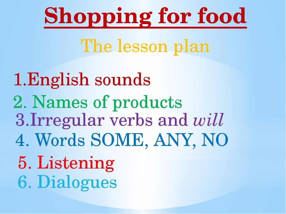 Shopping for food 1.English sounds 2. Names of products 3.Irregular verbs and...