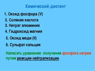 Химический диктант 1. Оксид фосфора (V) 2. Соляная кислота 3. Нитрат алюминия