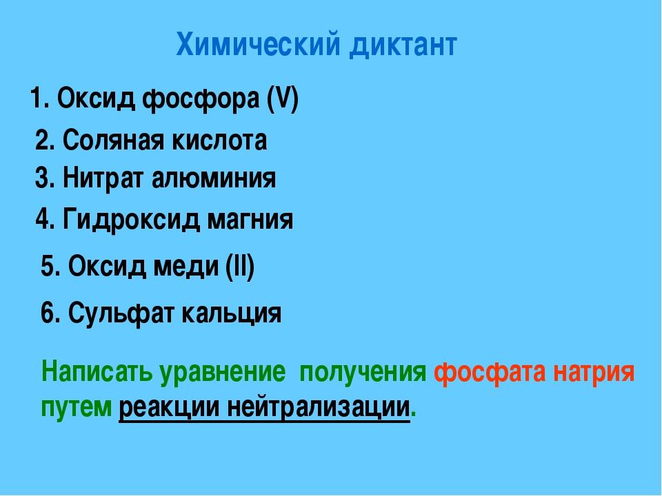 Химический диктант 1. Оксид фосфора (V) 2. Соляная кислота 3. Нитрат алюминия...