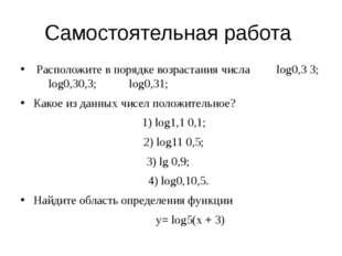 Самостоятельная работа Расположите в порядке возрастания числа log0,3 3; log0