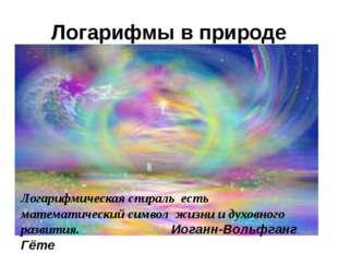 Логарифмы в природе Логарифмическая спираль есть математический символ жизни