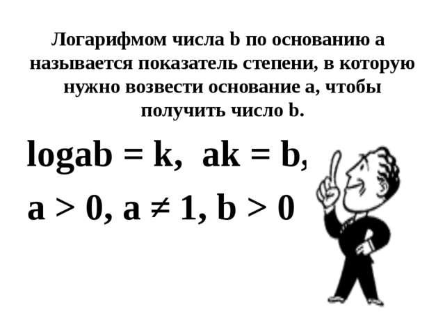 Логарифмом числа b по основанию а называется показатель степени, в которую н...