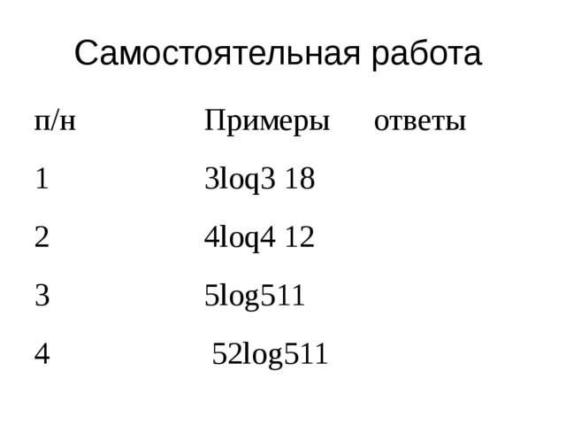 Самостоятельная работа п/н Примеры ответы 1 3loq318 2 4loq412 3 5log511 4 52l...