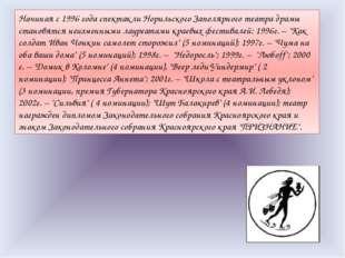 Начиная с 1996 года спектакли Норильского Заполярного театра драмы становятся