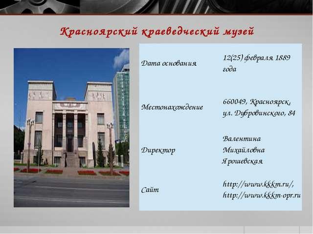 Красноярский краеведческий музей Балта О.А. Дата основания 12(25) февраля 188...