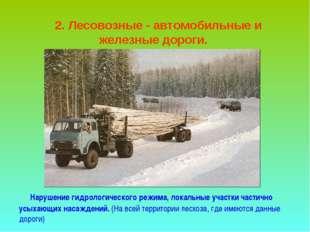 2. Лесовозные - автомобильные и железные дороги. Нарушение гидрологического