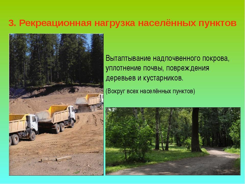 3. Рекреационная нагрузка населённых пунктов Вытаптывание надпочвенного покро...