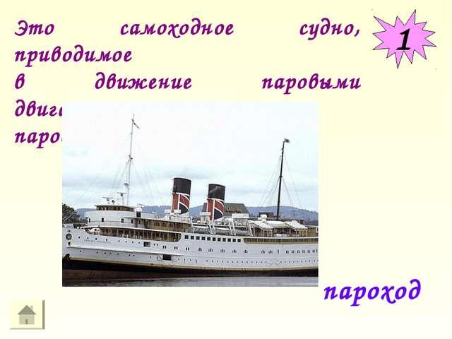 1 пароход Это самоходное судно, приводимое в движение паровыми двигателями ил...
