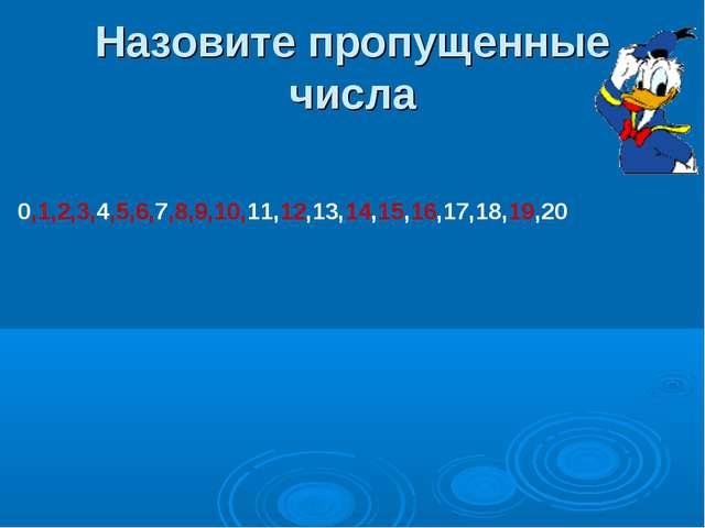 Назовите пропущенные числа 0,1,2,3,4,5,6,7,8,9,10,11,12,13,14,15,16,17,18,19,20