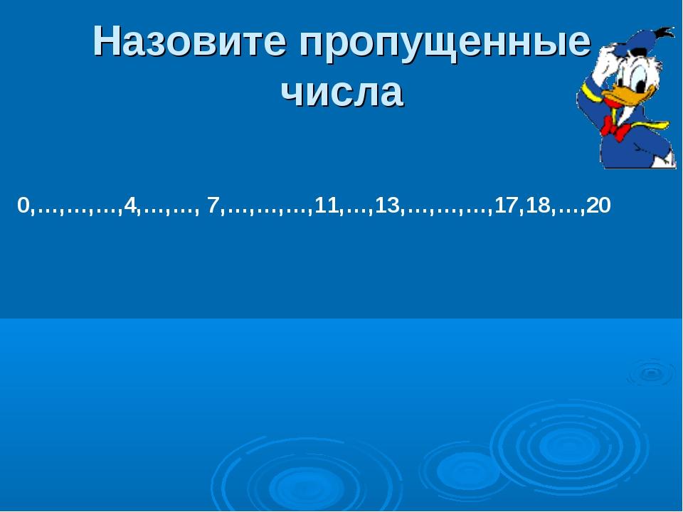 Назовите пропущенные числа 0,…,…,…,4,…,…, 7,…,…,…,11,…,13,…,…,…,17,18,…,20