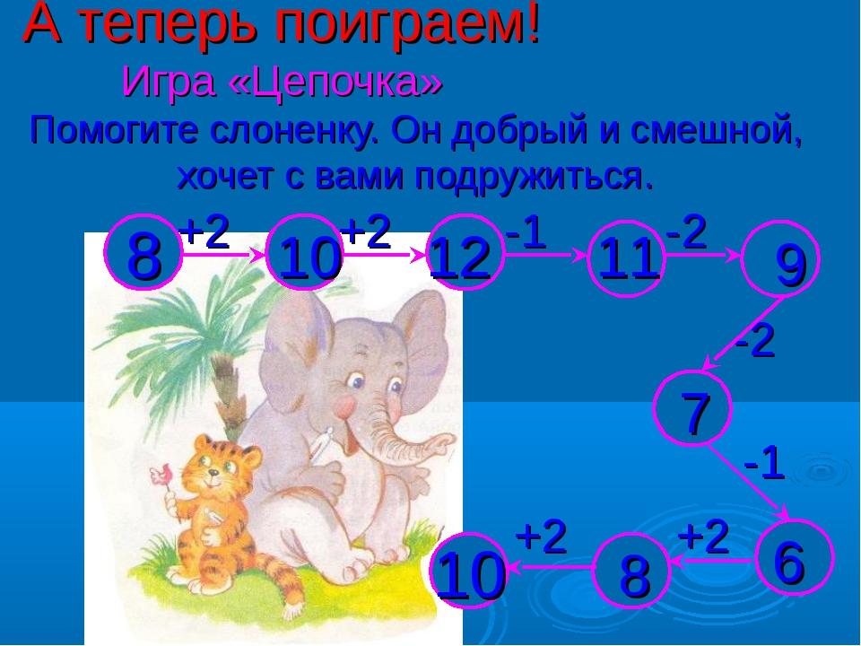 А теперь поиграем! Игра «Цепочка» Помогите слоненку. Он добрый и смешной, хоч...