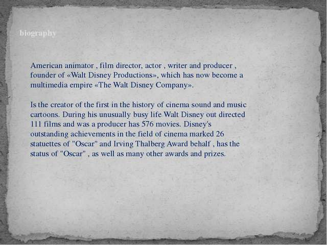 biography American animator , film director, actor , writer and producer , f...