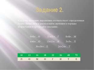 Задание 2. Каждому значению выражения соответствует определенная буква. Вычис