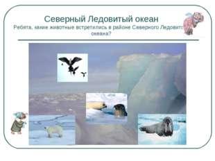 Северный Ледовитый океан Ребята, какие животные встретились в районе Северног