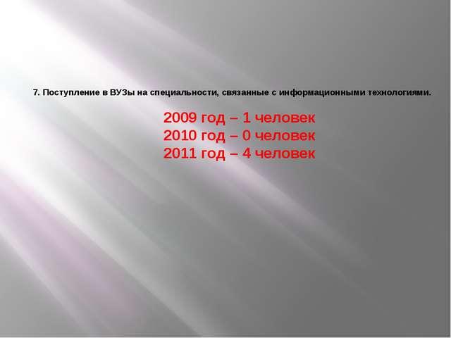 7. Поступление в ВУЗы на специальности, связанные с информационными технолог...