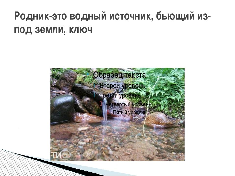 Родник-это водный источник, бьющий из-под земли, ключ