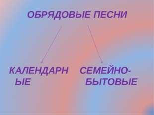 ОБРЯДОВЫЕ ПЕСНИ КАЛЕНДАРНЫЕ СЕМЕЙНО-БЫТОВЫЕ