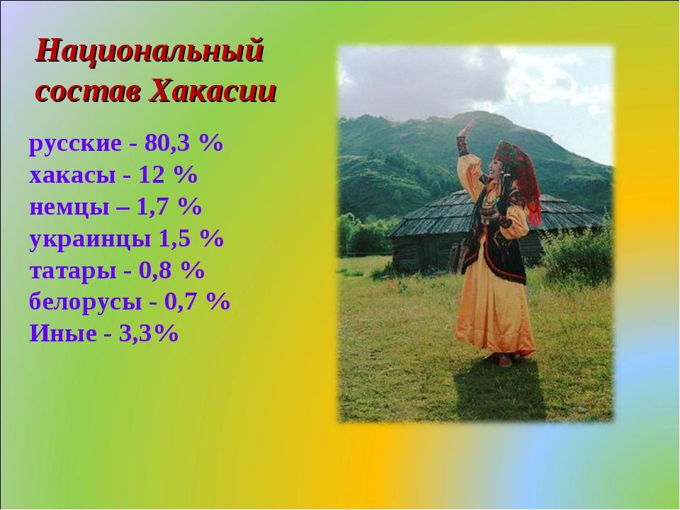 русские - 80,3 % хакасы - 12 % немцы – 1,7 % украинцы 1,5 % татары - 0,8 % б...