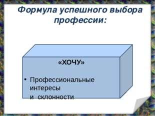 «ХОЧУ» Профессиональные интересы и склонности Формула успешного выбора профе