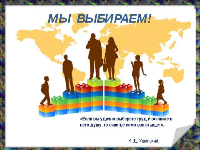 МЫ ВЫБИРАЕМ! «Если вы удачно выберете труд и вложите в него душу, то счастье...