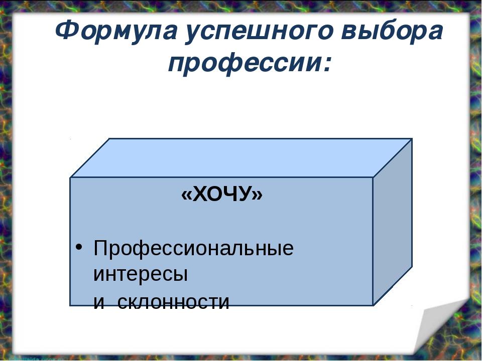 «ХОЧУ» Профессиональные интересы и склонности Формула успешного выбора профе...