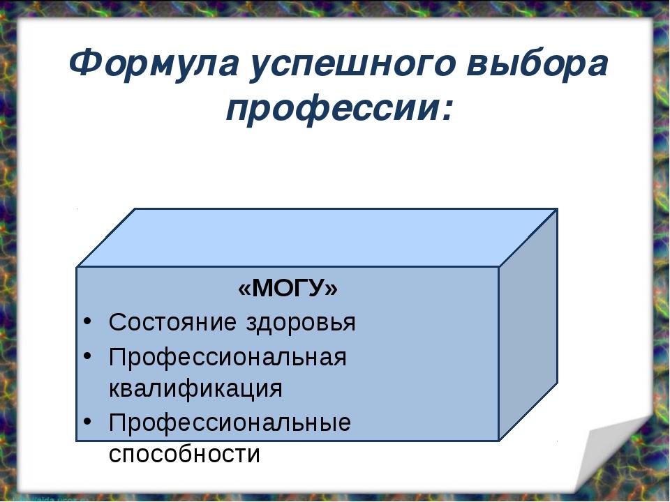 Формула успешного выбора профессии: «МОГУ» Состояние здоровья Профессиональн...