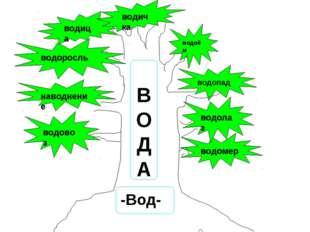 водовоз водомер наводнение водоросль водица водичка водолаз водопад В О Д А -