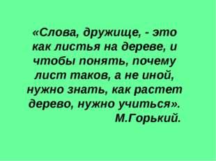 «Слова, дружище, - это как листья на дереве, и чтобы понять, почему лист тако