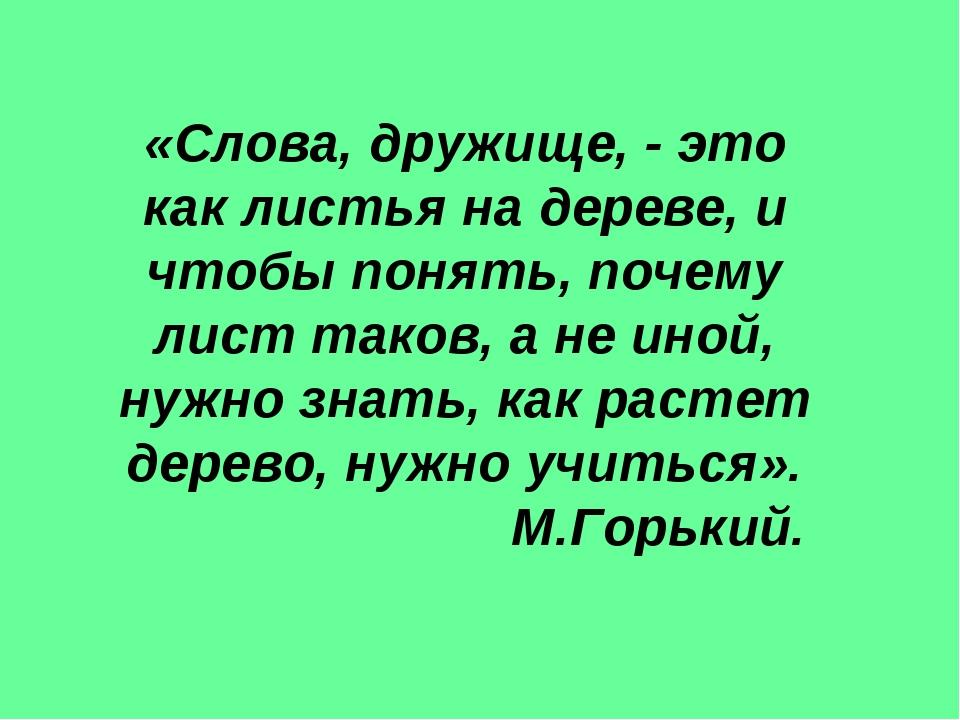 «Слова, дружище, - это как листья на дереве, и чтобы понять, почему лист тако...