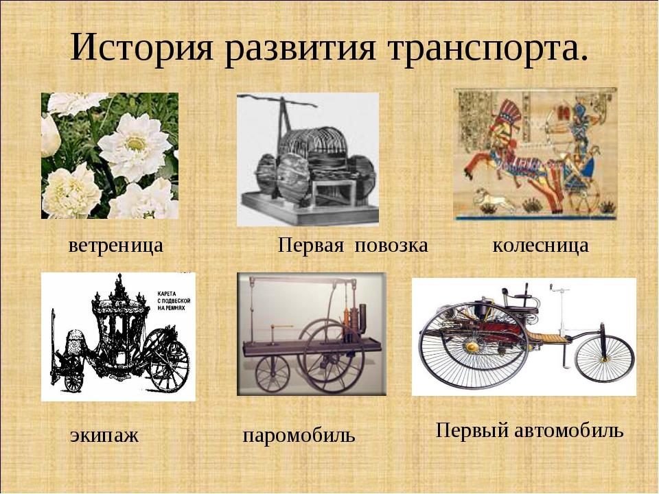 История развития транспорта. ветреница Первая повозка колесница паромобиль эк...