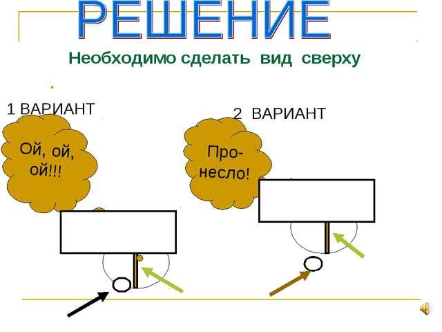 2 ВАРИАНТ 1 ВАРИАНТ Про- несло! Ой, ой, ой!!! Необходимо сделать вид сверху