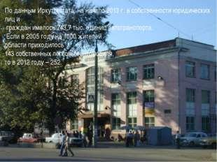 По данным Иркутскстата, на начало 2013 г. в собственности юридических лиц и г