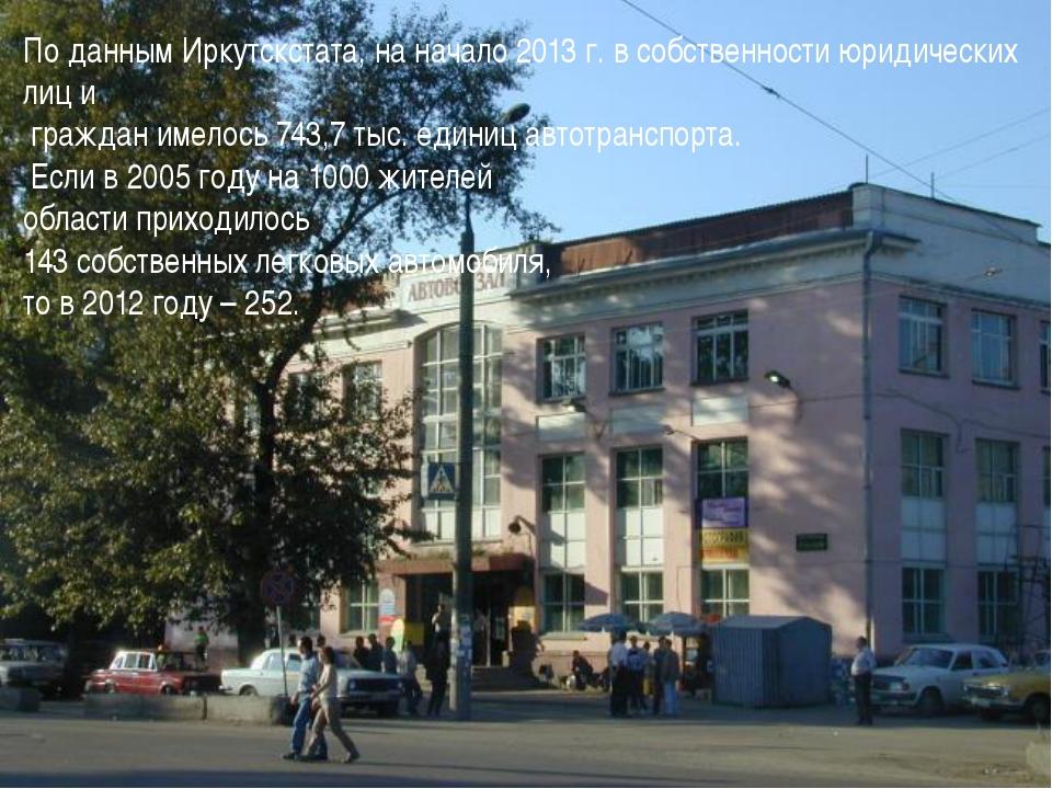 По данным Иркутскстата, на начало 2013 г. в собственности юридических лиц и г...