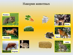 Накорми животных Лиса Волк Корова Кошка заяц Лошадь