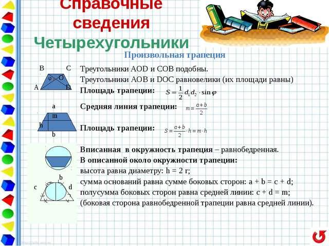 Справочные сведения Четырехугольники Равнобедренная трапеция В С A D Углы пр...