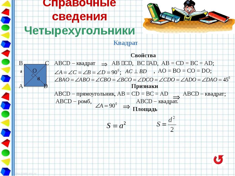 Справочные сведения Четырехугольники Произвольная трапеция BC φO A D Треугол...